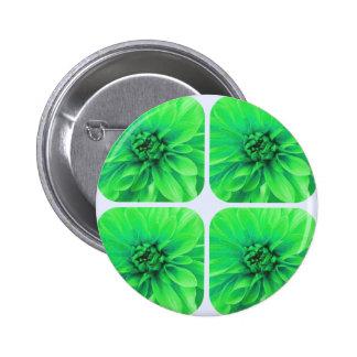 Green Collage Dahlia Flower Pattern Button