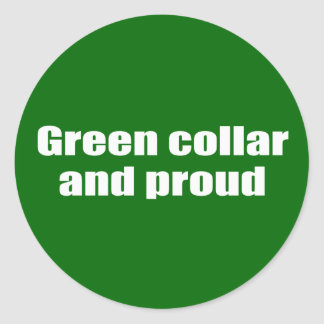 Green collar and proud classic round sticker