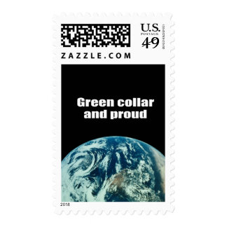 Green collar and proud postage stamps