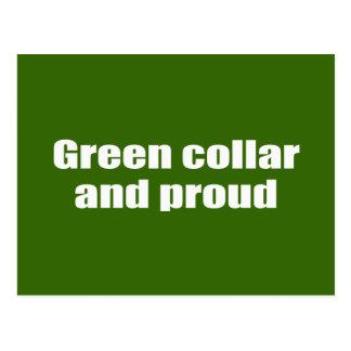 Green collar and proud postcard