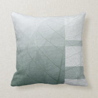 Green color block leaves throw pillow