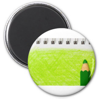 Green color pencil with coloring 2 inch round magnet