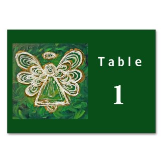 Green Color Series Angel Custom Table Cards