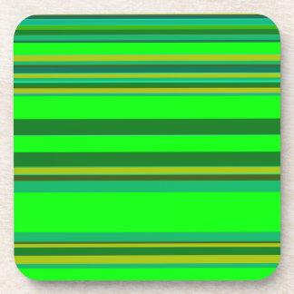 Green Color Stripe Patter Designer Coasters