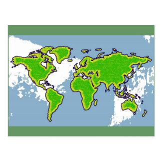 green color world map postcard