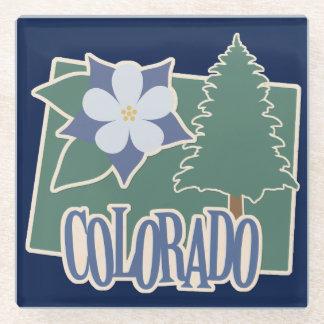 Green Colorado Columbine Glass Coaster