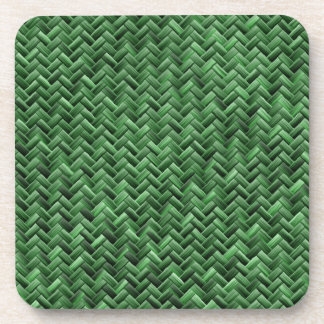Green Colored Basket weave Pattern Drink Coaster