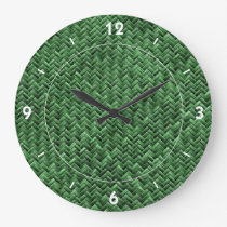 Green Colored Basket weave Pattern Large Clock