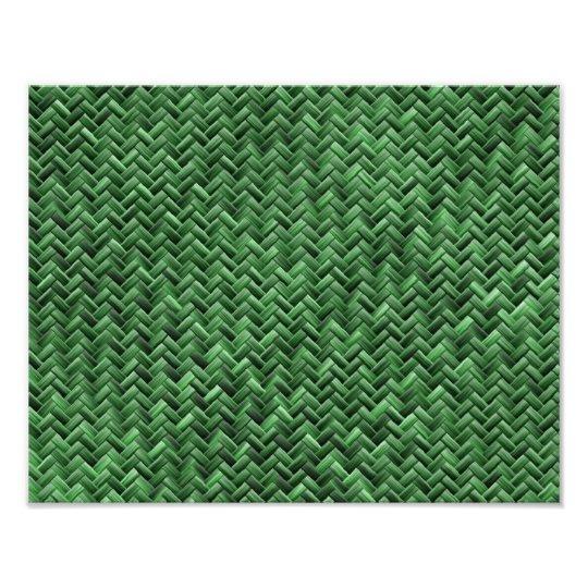Green Colored Basket weave Pattern Photo Print