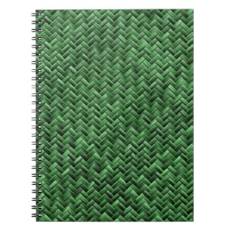 Green Colored Basket weave Pattern Spiral Notebook
