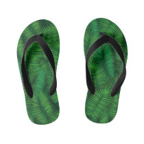 Green colored palm tree leaf pattern. kid's flip flops