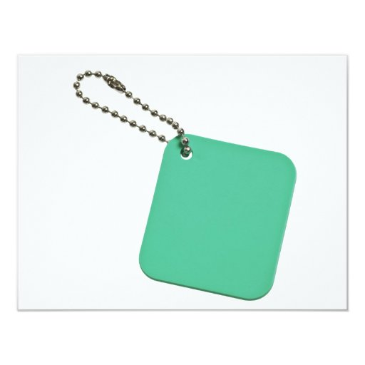 Green colored tag with chain 4.25x5.5 paper invitation card
