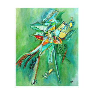 Green Colorful Bi-Plane Abstract Line Art Canvas Gallery Wrap Canvas