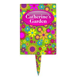Green & Colorful Flowers Custom Garden Stake Cake Topper