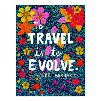 Green Colorful Flowers Typography Travel Quote Postcard