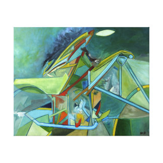 Green Colorful Futurist Biker Geometrical Abstract Canvas Print
