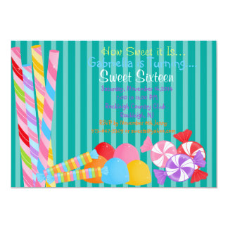 Green Colorful Lots of Candy Sweet 16 Invitation