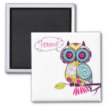 Green Colorful Ornate Retro Floral Owl Magnet