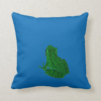 green colorized against blue looking up throw pillow