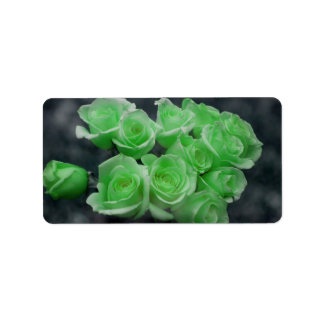 Green colorized bunch roses address label