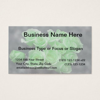 Green colorized bunch roses business card