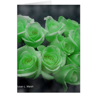 Green colorized bunch roses greeting card