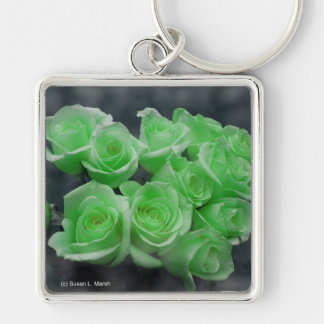 Green colorized bunch roses keychains