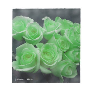 Green colorized bunch roses note pad