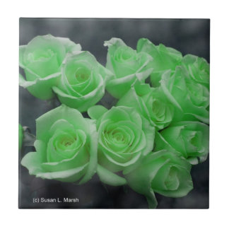Green colorized bunch roses small square tile