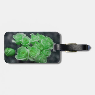 Green colorized bunch roses tag for bags
