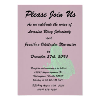 green colorized frong against burgundy personalized invitation