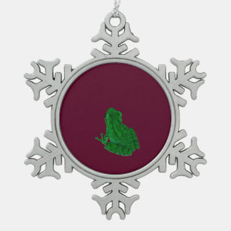 green colorized frong against burgundy snowflake pewter christmas ornament