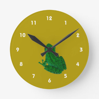Green colorzed frog against yellow look up round wallclocks
