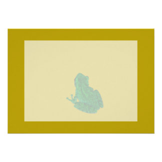 Green colorzed frog against yellow look up custom invites