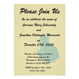Green colorzed frog against yellow look up personalized invite
