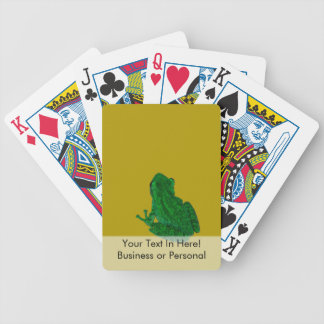 Green colorzed frog against yellow look up bicycle playing cards