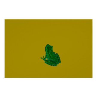 Green colorzed frog against yellow look up poster