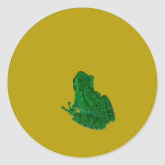 Green colorzed frog against yellow look up classic round sticker
