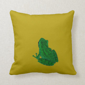 Green colorzed frog against yellow look up throw pillow