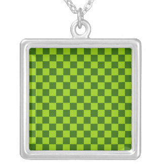 Green Combination Classic Checkerboard by STaylor Silver Plated Necklace