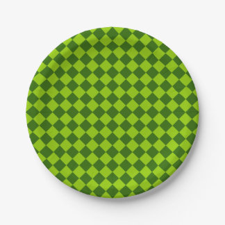 Green Combination Diamond Pattern 7 Inch Paper Plate