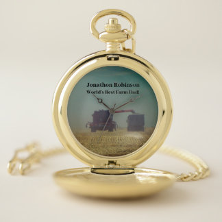 Green Combine and Grain Truck on Field Pocket Watch
