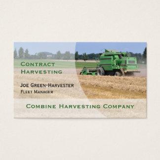 Green combine harvester business card