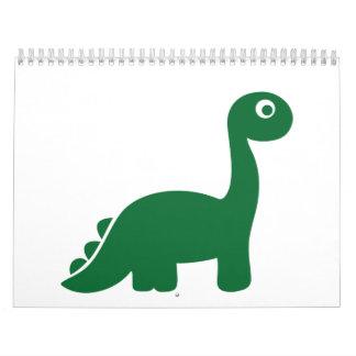 Green comic dinosaur calendar