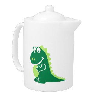 Green comic dragon teapot