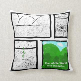 Green Comic Throw Pillow