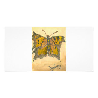 Green Comma Butterfly Photo Cards