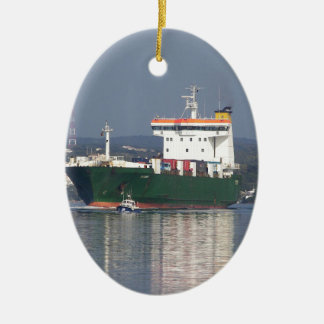 Green Commercial Vehical Ferry Ceramic Ornament