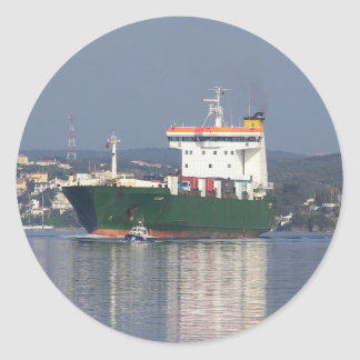 Green Commercial Vehical Ferry Classic Round Sticker