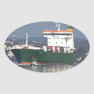Green Commercial Vehical Ferry Oval Sticker